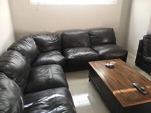 Large brown leather corner lounge with Chaise Stanhope Gardens Blacktown Area Preview