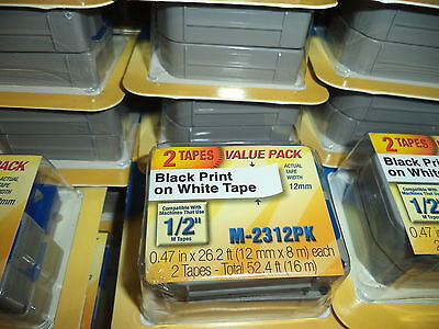 2 Pack Brother M231 P-touch Label Tape Ptouch Original Nib 12 M-231 M-2312pk