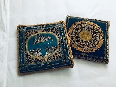 Two Vintage Versace Silk Velvet Down Pillows with Gold Rococo and Tiger Motif
