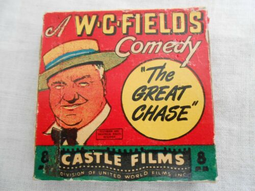 """Vintage W.C. FIELDS Comedy """"The Great Chase"""" B&W 8mm Movie Castle Films"""