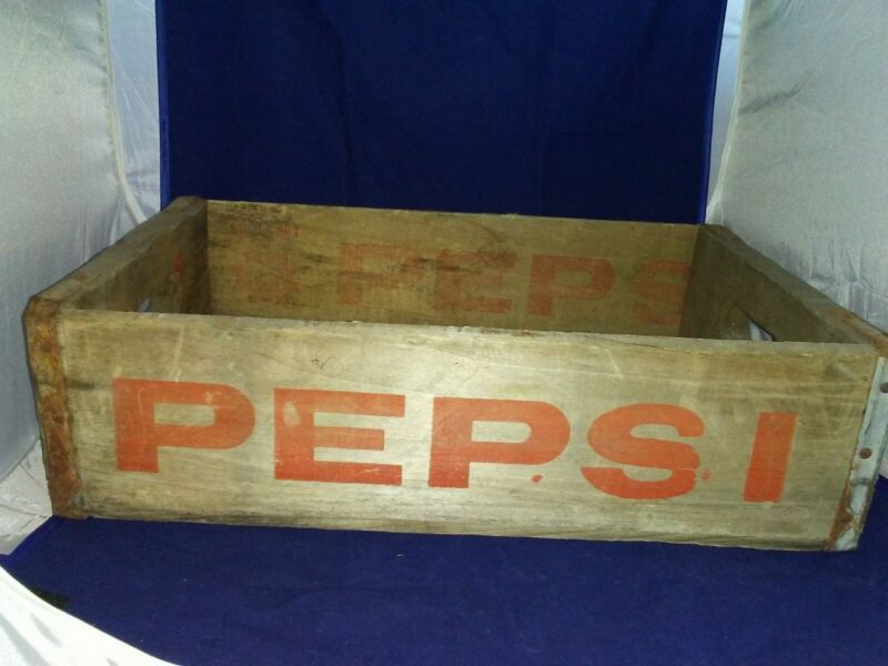Vintage Wooden Soda Crate Pepsi Cola Wood Box 18.5x11.5x5""