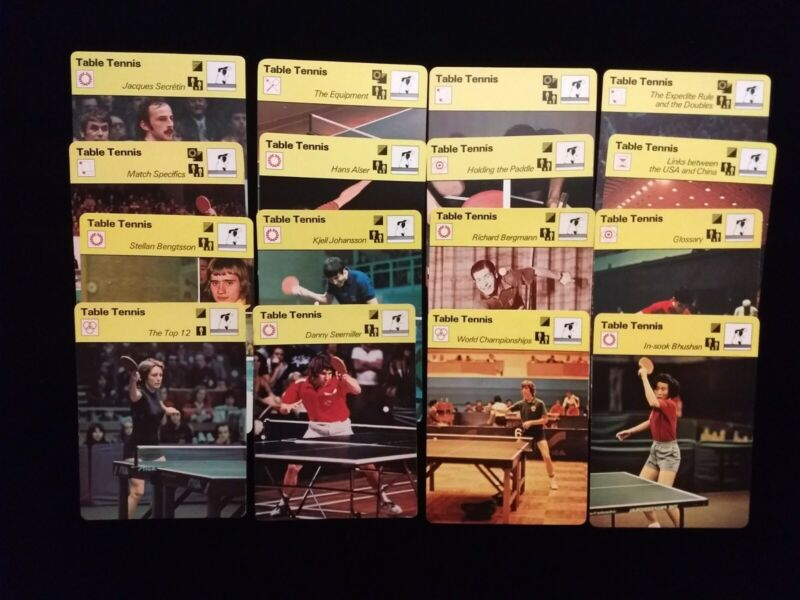 1977-79 Sportscaster TABLE TENNIS set (16) w/Eric Boggan, Danny Seemiller