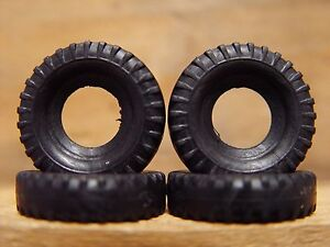 DINKY TOYS TYRES X 4 - 27mm Diameter, for Euclid tipper, plus 666, 693, 437, 959