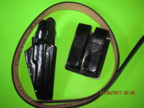 "Police Duty Leather Belt Hook & Loop Closure 44"" Waist, 54"" Overall, Holster"