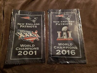 "New England Patriots Banners 2001&2016 World Champions 2 Banner Set 8.5""x14"" NEW"