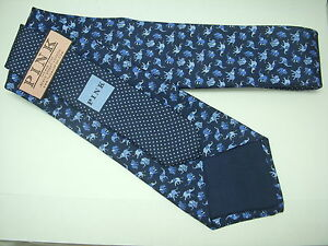 Thomas Pink 100% Silk Blue Mens Tie - Elephant Print RRP £65.00