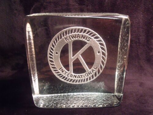 "VINTAGE KIWANIS INTERNATIONAL LOGO LASER CUT 5"" SOLID GLASS BLOCK"