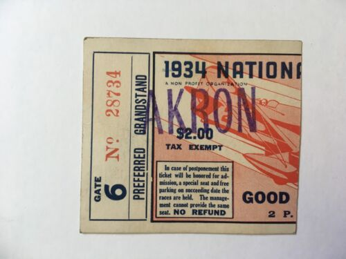 VTG ORIGINAL 1934 NATIONAL AIR SHOW TICKET STUB