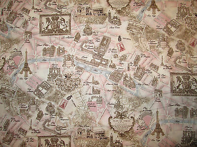 Vintage Paris Land Mark Map French Pink Cotton Fabric Bthy