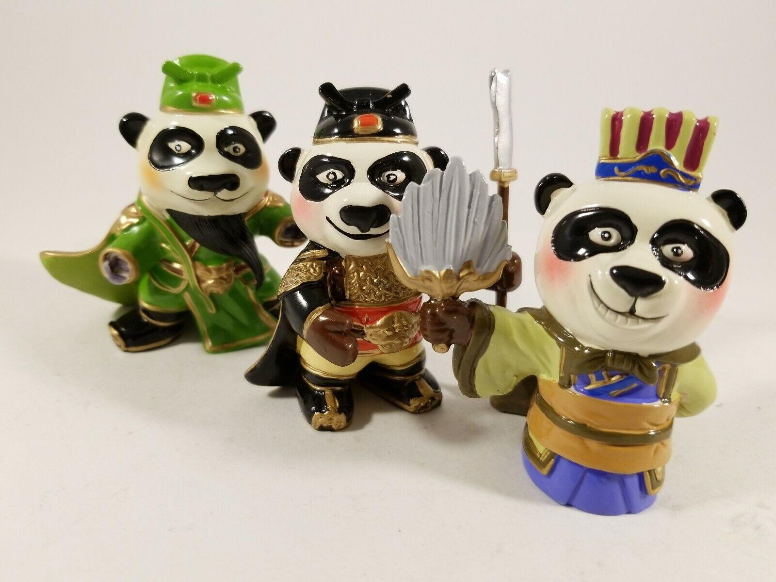 Rare Miniature Panda Warrior Figurine Set