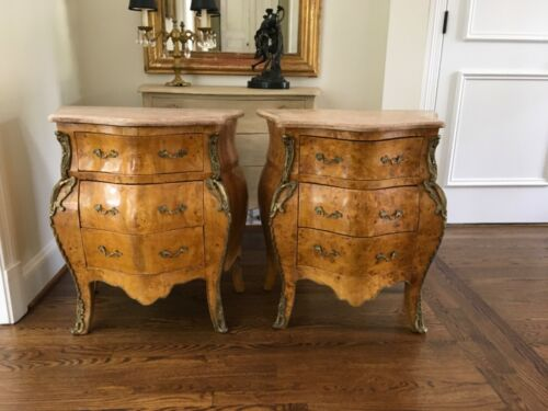 Pair French nightstands end tables side chests with marble tops