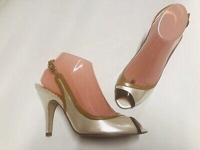 BCBG Generation  Peep Toe Heels Size 8.5 M Sling Back Pearl/Brown/camel Pump Brown Peep Toe Pump