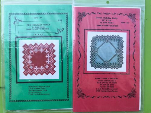 Hardanger Embroidery Christmas Pattern Lot Holiday Doily 13x13 18x18 Ruth Hanke
