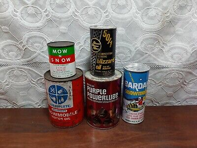 Vintage Lot Full Cans Arctic Cat BLIZZARD skidoo Mow&Snow Bardahl Snowmobile Oil