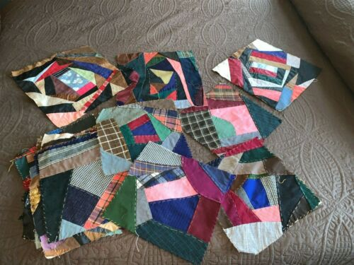 Lot of 25 C1910 Crazy Quilt Blocks Never Used Wool + Cotton