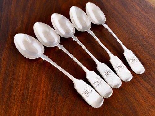- (5) SAVAGE & LYMAN CANADIAN STERLING SILVER TEASPOONS FIDDLE PATTERN 1850–67