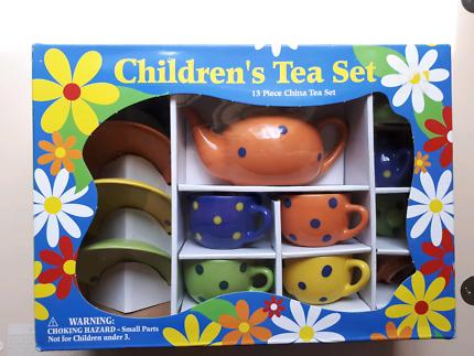 Childrens tea set 13 pieces china polka dot motif. BNIB