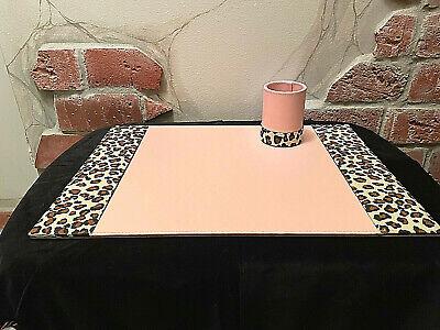 Mid Century Modern-pink Leopard Blotter Desk Pad Pencil Cup Desk Set - 20x14
