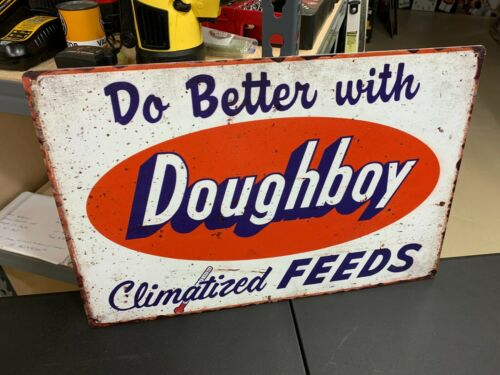 """DOUGHBOY FEEDS"" HEAVY METAL/STEEL ADVERTISING SIGN, (18""x 12"") GREAT SIGN"