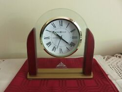Howard Miller Desk Clock 6.5 645-602 DERRICK Wood & Glass Battery Operated NIB