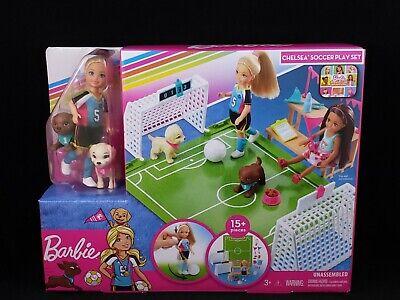 Barbie Dreamhouse Adventures Chelsea doll Soccer Play Set 2 Puppy Friends Mattel
