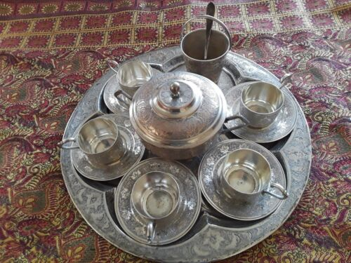 BEAUTIFUL PERSIAN SOLID SILVER ESPRESSO OR TURKISH COFFER  SET FOR 5