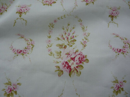 Yuwa Michelle Pink Rose Garlands on WHITE  Cotton Home Decor Fabric BTY