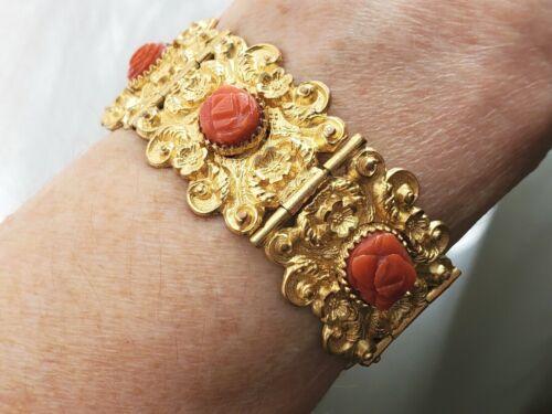 Antique Georgian Natural Hand Carved Mediterranean Coral Gold Gilded Bracelet