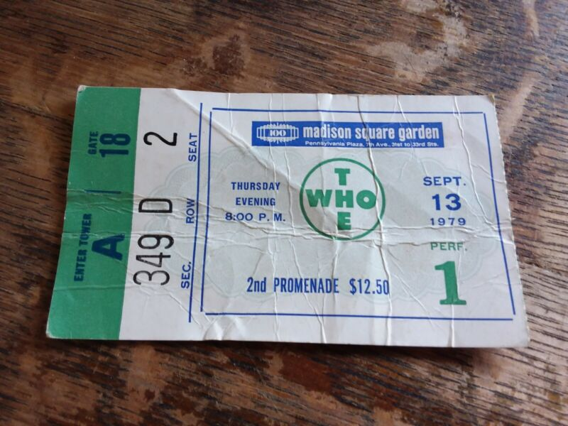 Rare The WHO Concert Ticket Stub Vintage Sept 13, 1979 Madison Square Garden