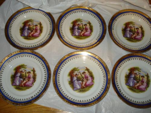 6 Vintage Atlas China Company Bavaria Gold Rim Angelica Kauffman Dessert Plates