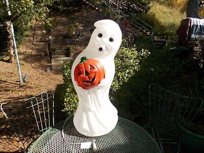 """34"""" Halloween Ghost W/Pumpkin Blow Mold Light Up Yard Decor (A)"""
