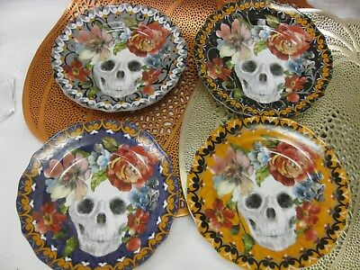 222 FIFTH MARBELLA SKULL HALLOWEEN APPETIZER PLATES Sugar Floral SET of 4