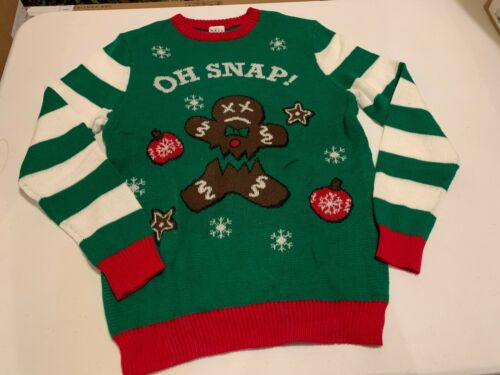 """""""OH SNAP"""" Gingerbread Christmas UGLY SWEATER Youth Medium"""