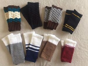 Knitted and crocheted wrist warmers handmade