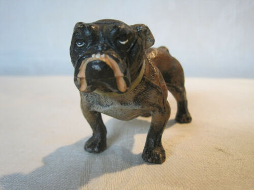 Vintage cold painted metal English bulldog figurine