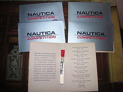 NAUTICA Competition Cologne for MEN 5 vials on Cards  0.05 oz 1.5 ml Lot Vials