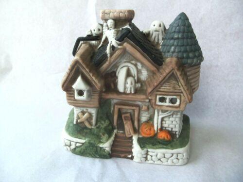 Haunted House Halloween Ceramic Tea Light Holder Decoration!  GHOSTS! SKELETON!