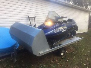 2001 Polaris 500 Classic sled with single snowmobile trailer