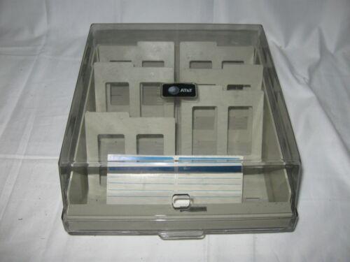 """Vintage AT&T ~ 3.5"""" Floppy Disk Storage Box Storage Case Holder 2 Rows"""