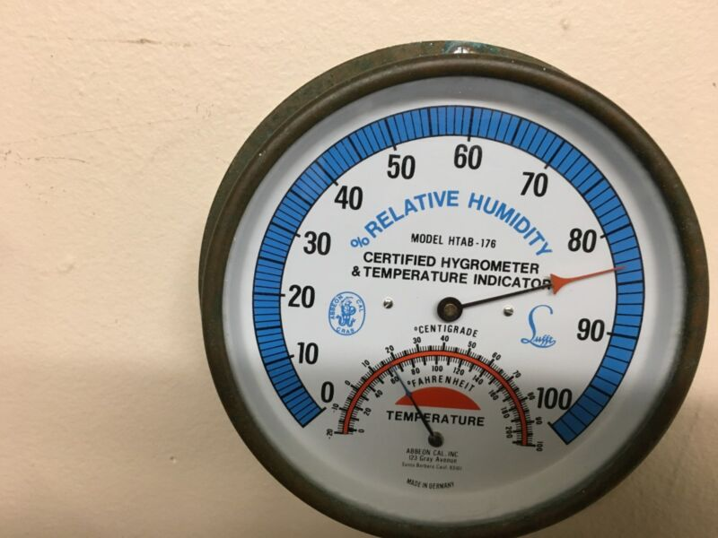 ABBEON CAL INC LUFFT CERTIFIED RELATIVE HUMIDITY HYGROMETER THERMOMETER Vintage