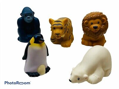 Fisher Price Little People Zoo Talkers Figures X5 Lot Gorilla Lion Tiger Penguin