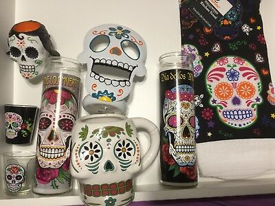 Day Of The Dead Items (Day of the Dead Lot Of 8 Items-candles,shot)