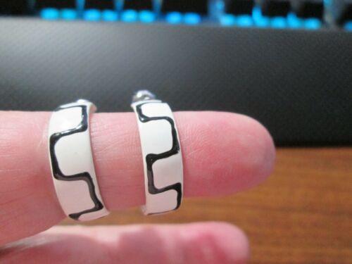 """Hoop earrings with enamel black geometric on ivory 3/4"""" diameter . Nice weight"""