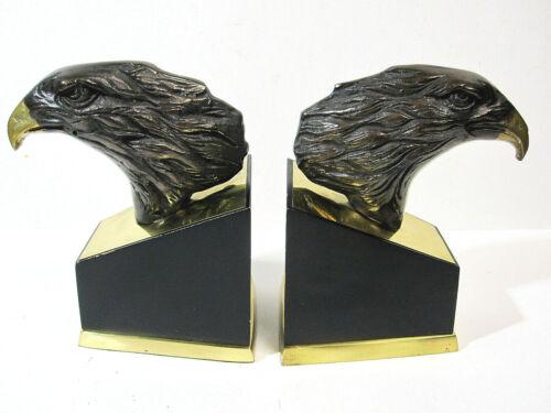 Vintage Cast Metal Bronze Finish Eagle Head Bookends Mid Century Set of 2