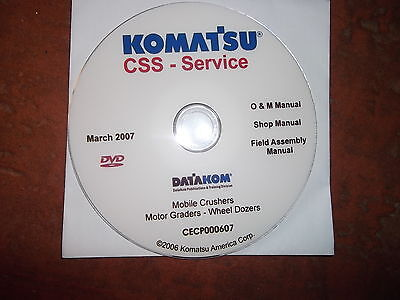 Komatsu Crushers Motor Graders Crawler Dozers Service Shop Repair Manual Cd