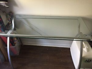 Glass topped, metal desk