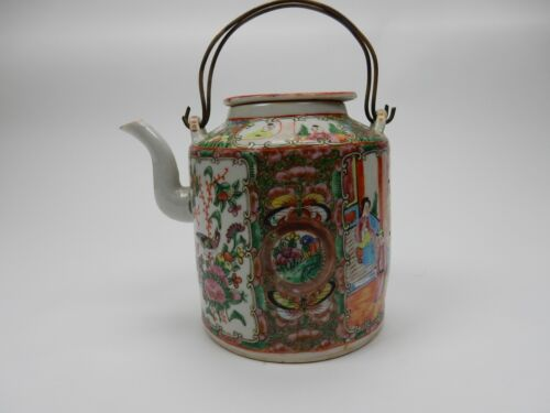 Antique Chinese  Rose Medallion 19th Century  Teapot With Lid 7 inches