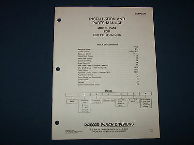 Paccar Pa56 Winch Installation Parts Book Manual For D6h Ps Tractors