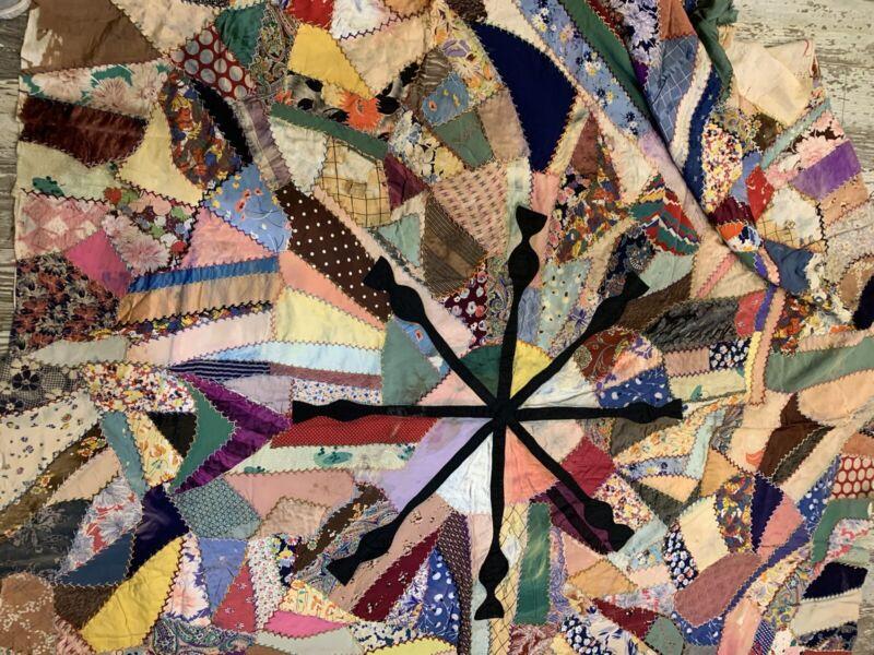 Antique crazy Quilt Topper Hand Stitch Embroider Bow Tie Damage Stain 66x76