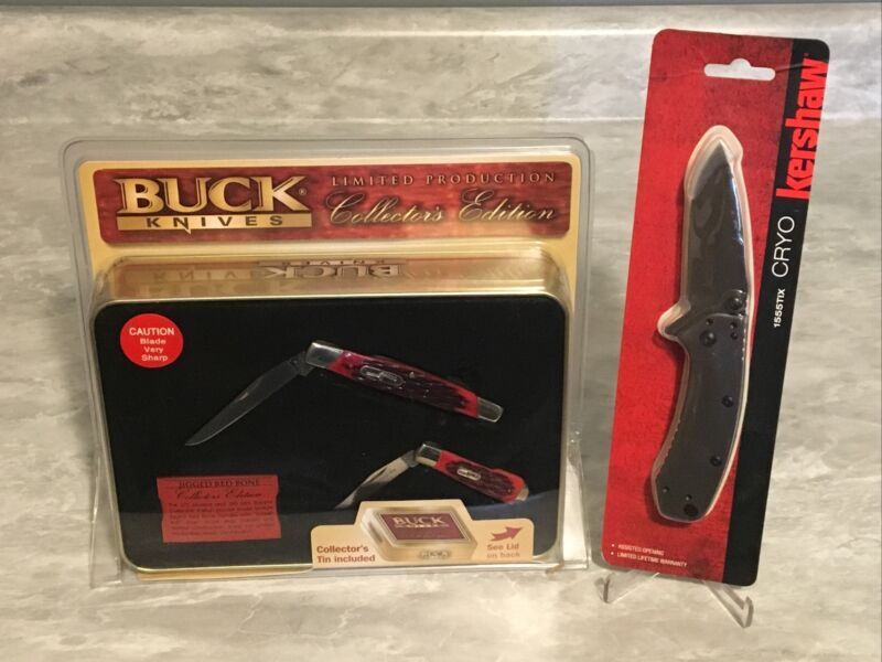New Buck 2006 372 Muskrat and 380 Mini Trapper Set & Kershaw Cryo Pocket Knives